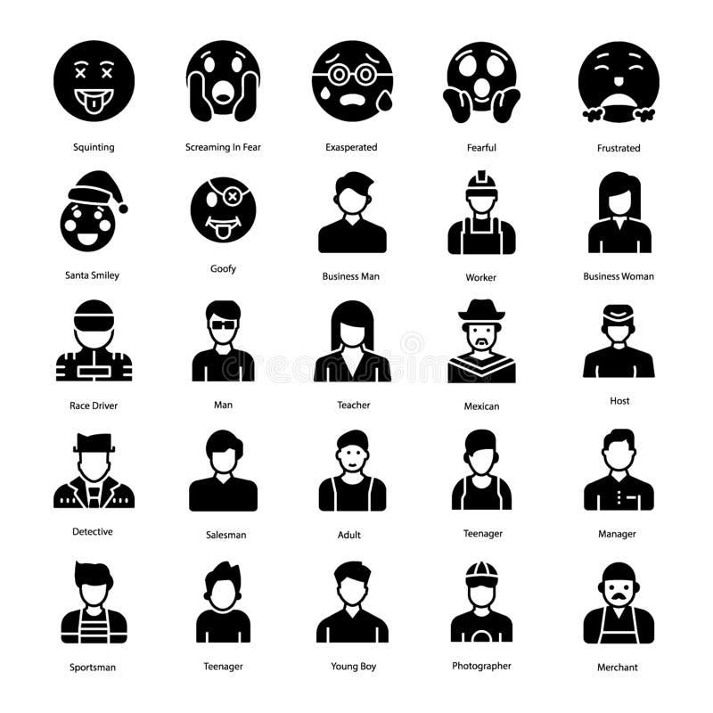 Πακέτο Emoticons και στερεό εικονιδίων ειδώλων ελεύθερη απεικόνιση δικαιώματος