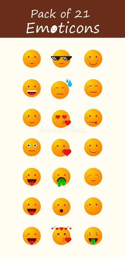 Πακέτο 21 Emoticons, Emojis διανυσματική απεικόνιση