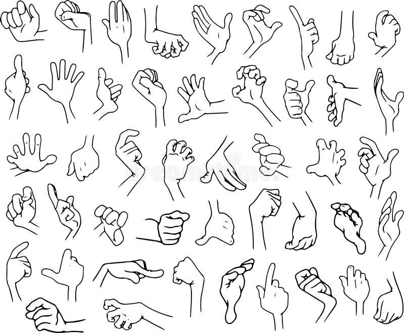 Πακέτο Lineart 3 χεριών κινούμενων σχεδίων απεικόνιση αποθεμάτων