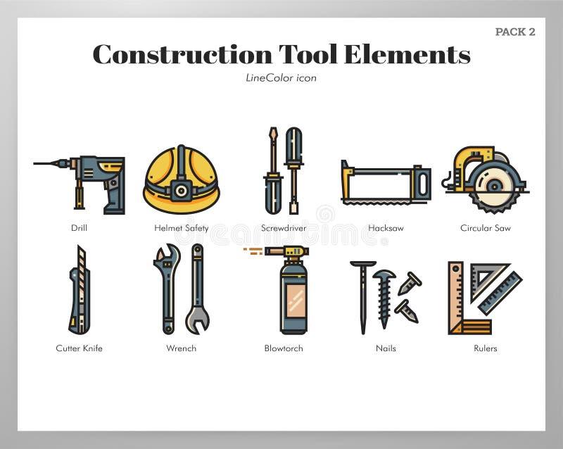Πακέτο LineColor στοιχείων εργαλείων κατασκευής διανυσματική απεικόνιση