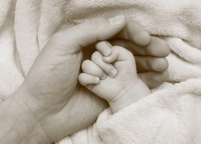 παλάμη λαβής χεριών πατέρων μωρών στοκ εικόνες