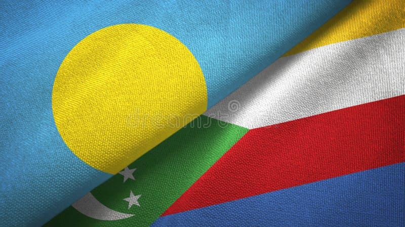 Παλάου και Κομόρες δύο υφαντικό ύφασμα σημαιών, σύσταση υφάσματος απεικόνιση αποθεμάτων