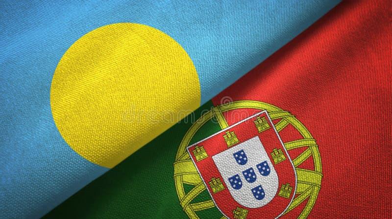 Παλάου και Πορτογαλία δύο υφαντικό ύφασμα σημαιών, σύσταση υφάσματος διανυσματική απεικόνιση