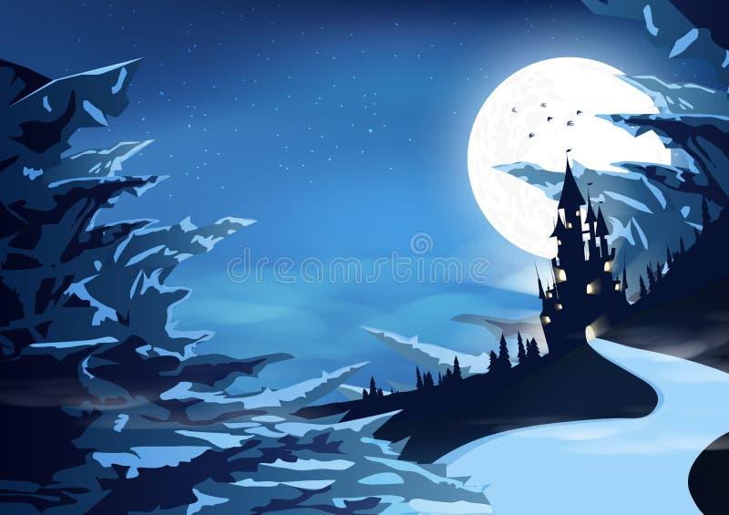 Παλάτι του Castle σε μυστικό της παγωμένης βουνών αρκτικής τοπίων σκιαγραφιών διανυσματικής απεικόνισης υποβάθρου φαντασίας αφηρη ελεύθερη απεικόνιση δικαιώματος