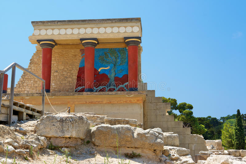 παλάτι knossos της Κρήτης Ελλάδ&alpha στοκ εικόνες