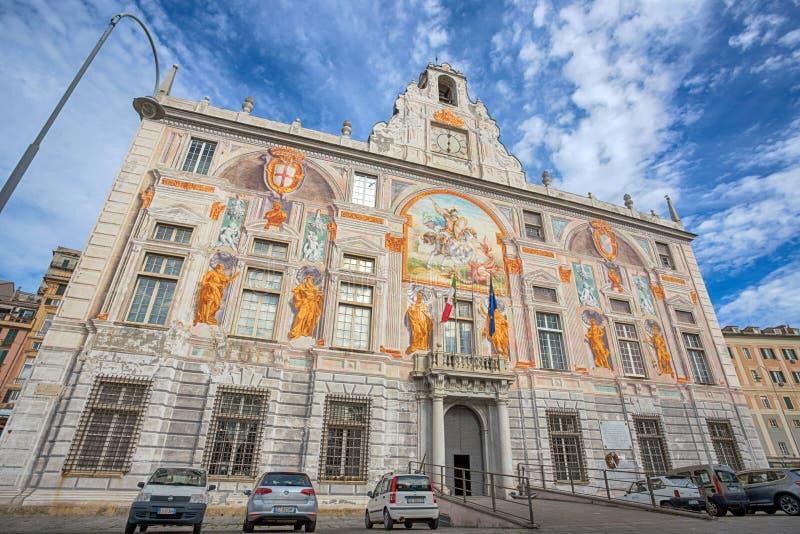 Παλάτι Palazzo SAN Giorgio του ST George στο ιστορικό κέντρο της Γένοβας, κοντά στην περιοχή παλαιών λιμένων ` Πόρτο Antico `, Ιτ στοκ φωτογραφία με δικαίωμα ελεύθερης χρήσης