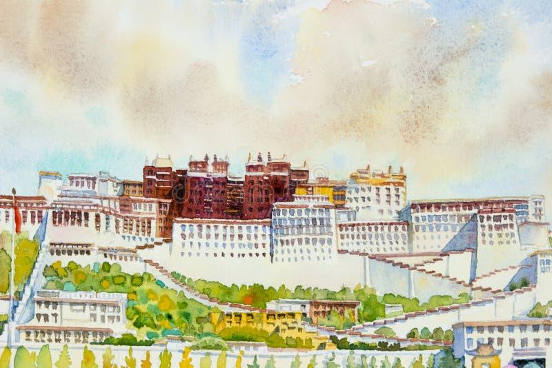 Παλάτι Potala σε Lhasa, Θιβέτ, Κίνα ελεύθερη απεικόνιση δικαιώματος