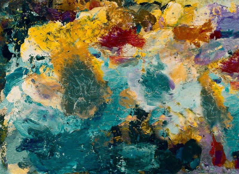 Παλέτα με τα χρώματα Αφηρημένο σχέδιο στην παλέτα - ελαιοχρώματα Διακοσμητική σύνθεση στοκ εικόνες με δικαίωμα ελεύθερης χρήσης