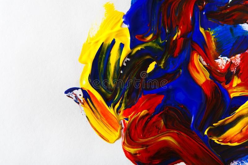 Παλέτα με τη ζωηρόχρωμη μικτή σύσταση λάδι-χρωμάτων απεικόνιση αποθεμάτων