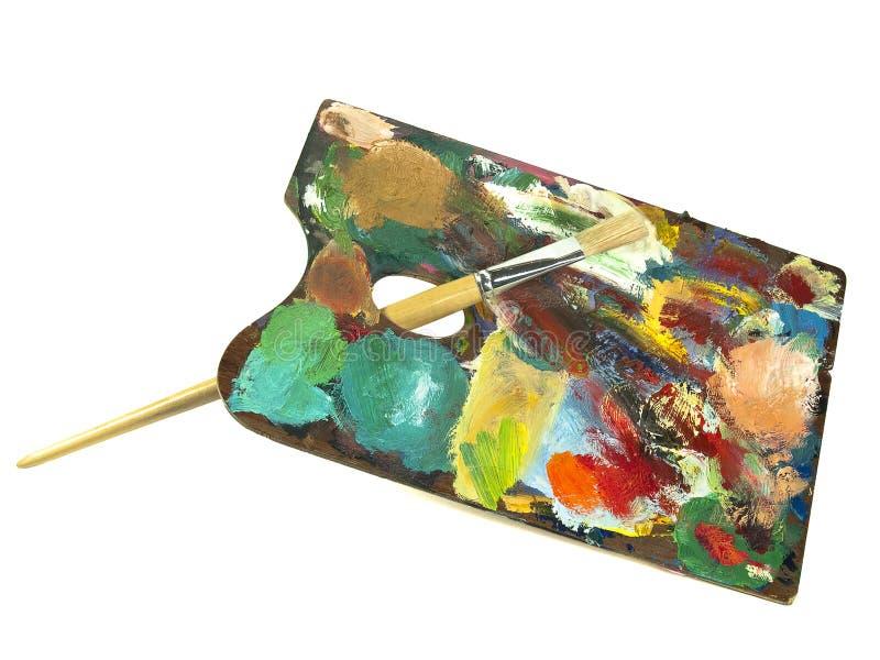 παλέτα χρωμάτων βουρτσών στοκ εικόνες