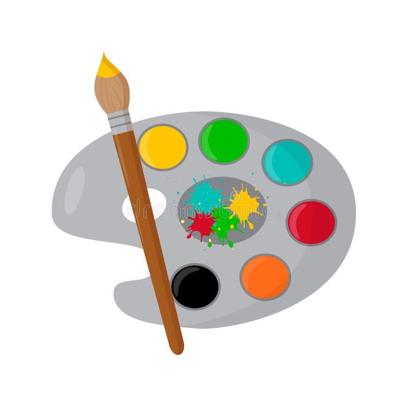 Παλέτα χρώματος, βούρτσα χρωμάτων σε ένα άσπρο υπόβαθρο chalkboard r απεικόνιση αποθεμάτων