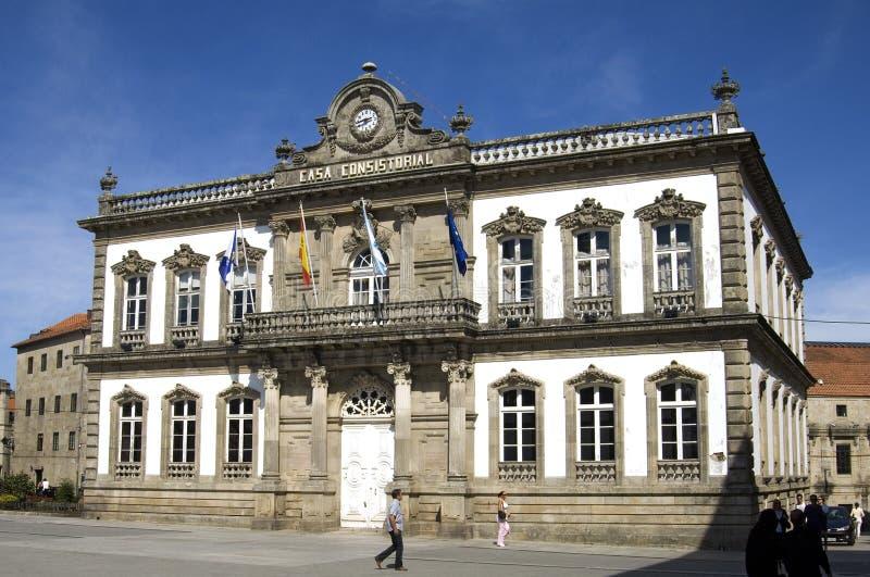 Παλαιά αίθουσα πόλεων της ισπανικής πόλης Pontevedra στη Γαλικία στοκ φωτογραφίες με δικαίωμα ελεύθερης χρήσης