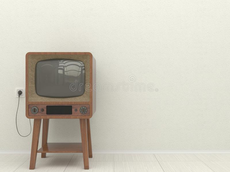 Παλαιά αναδρομική TV στο εσωτερικό ενός καθιστικού σε ένα υπόβαθρο ενός άσπρου επικονιασμένου τοίχου διάστημα αντιγράφων τρισδιάσ διανυσματική απεικόνιση