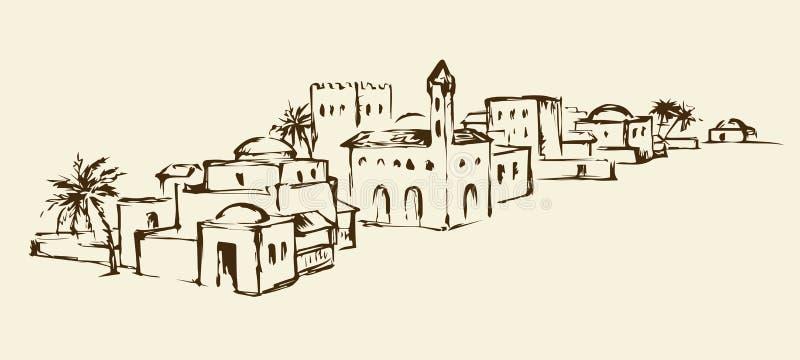 Παλαιά ανατολική πόλη ανασκόπηση που σύρει το floral διάνυσμα χλόης διανυσματική απεικόνιση