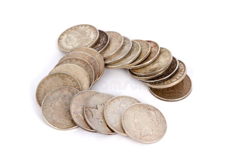 Παλαιά ασημένια δολάρια στοκ εικόνες