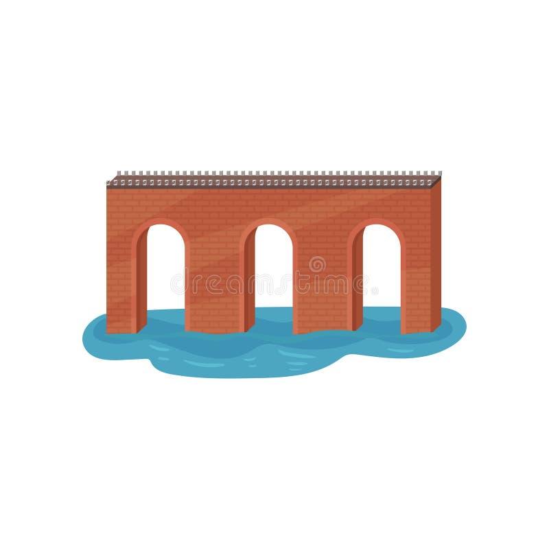 Παλαιά γέφυρα αψίδων τούβλου Κατασκευή για τη μεταφορά Θέμα αρχιτεκτονικής Επίπεδο διανυσματικό στοιχείο για το κινητό παιχνίδι ελεύθερη απεικόνιση δικαιώματος