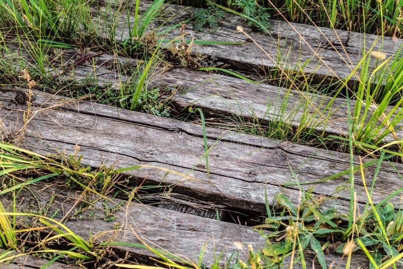 Παλαιά εγκαταλειμμένη ξύλινη κινηματογράφηση σε πρώτο πλάνο πορειών στοκ φωτογραφία με δικαίωμα ελεύθερης χρήσης