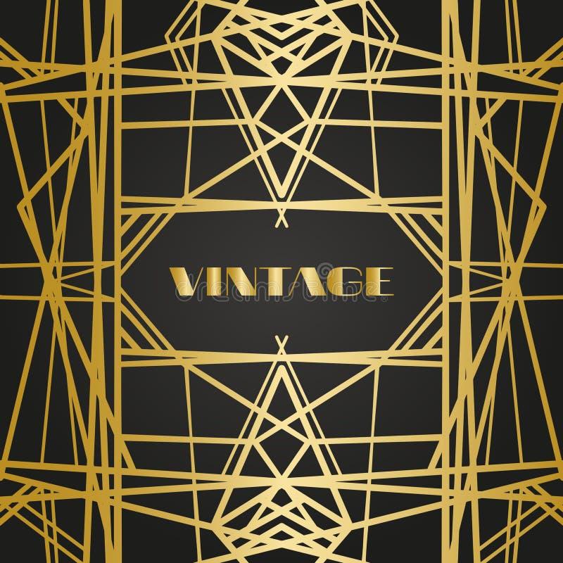 Παλαιά εκλεκτής ποιότητας αναδρομικά πλαίσια με τις γραμμές Ύφος της δεκαετίας του '20 Βασιλικό χρυσό ντεκόρ ασφαλίστρου στοκ φωτογραφίες με δικαίωμα ελεύθερης χρήσης