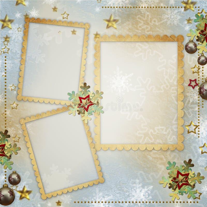 Παλαιά ευχετήρια κάρτα Χριστουγέννων διανυσματική απεικόνιση