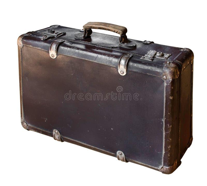Παλαιά καφετιά βαλίτσα που απομονώνεται στο άσπρο υπόβαθρο αναδρομικό ύφος διάστημα αντιγράφων στοκ φωτογραφία με δικαίωμα ελεύθερης χρήσης