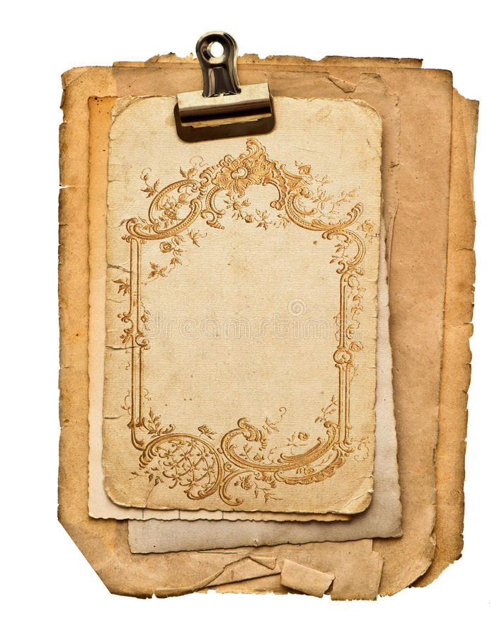 Παλαιά κενά φύλλα εγγράφου με τη χρυσή διακόσμηση στοκ εικόνες με δικαίωμα ελεύθερης χρήσης
