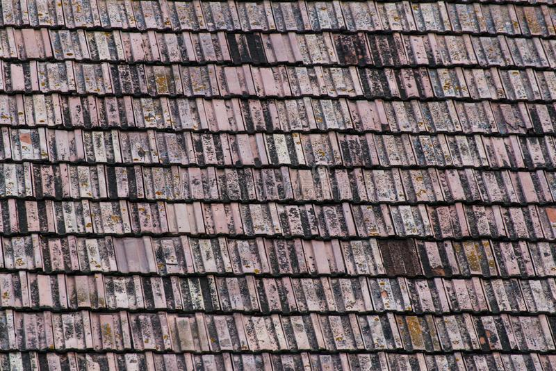 Παλαιά κεραμίδια στεγών στην ξύλινη παραδοσιακή σιταποθήκη στοκ φωτογραφίες