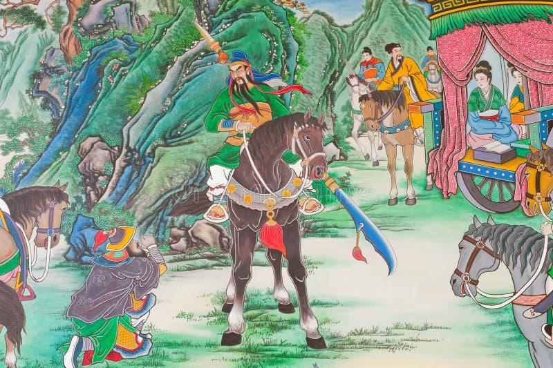 Παλαιά κινεζική τοιχογραφία. στοκ εικόνες