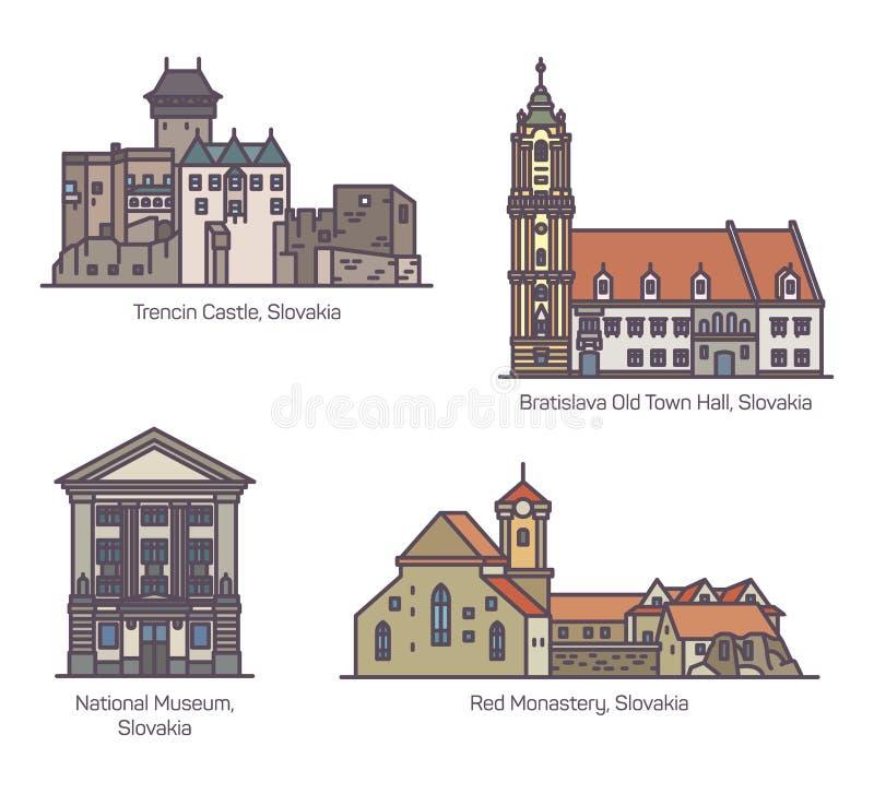 Παλαιά κτήρια αρχιτεκτονικής της Σλοβακίας στη γραμμή ελεύθερη απεικόνιση δικαιώματος