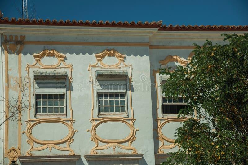 Παλαιά κτήριο και παράθυρα με τη ζωηρόχρωμη διακόσμηση ασβεστοκονιάματος στοκ εικόνες με δικαίωμα ελεύθερης χρήσης