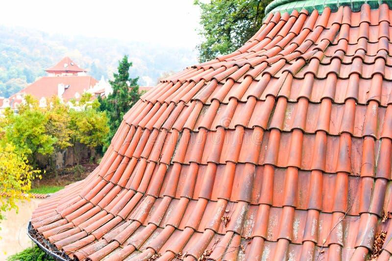 Παλαιά κόκκινη στέγη κεραμιδιών της Πράγας Τοπ όψη στοκ εικόνα