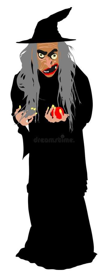 Παλαιά μάγισσα με το κόκκινο μήλο δηλητήριων Μαύρη μαγική κυρία Φρίκη και φρικτός εφιάλτης νύχτας ελεύθερη απεικόνιση δικαιώματος