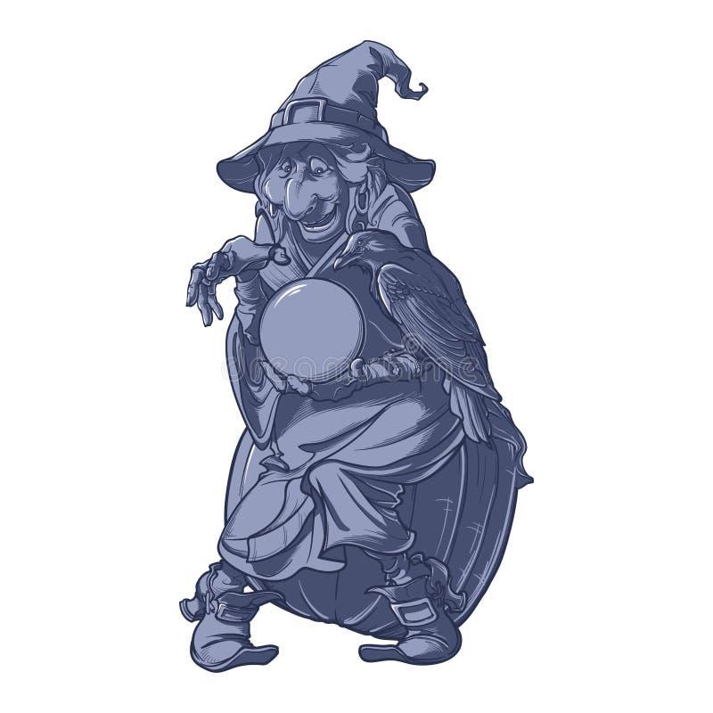 Παλαιά μάγισσα με το μαύρο κοράκι της που κρατά μια σφαίρα κρυστάλλου και που προβλέπει το μέλλον Αστείος χαρακτήρας ύφους κινούμ απεικόνιση αποθεμάτων
