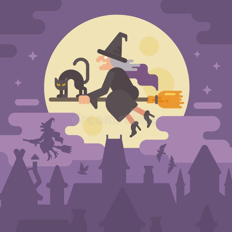 Παλαιά μάγισσα που πετά σε μια σκούπα με μια μαύρη γάτα πέρα από την πόλη νύχτας διανυσματική απεικόνιση