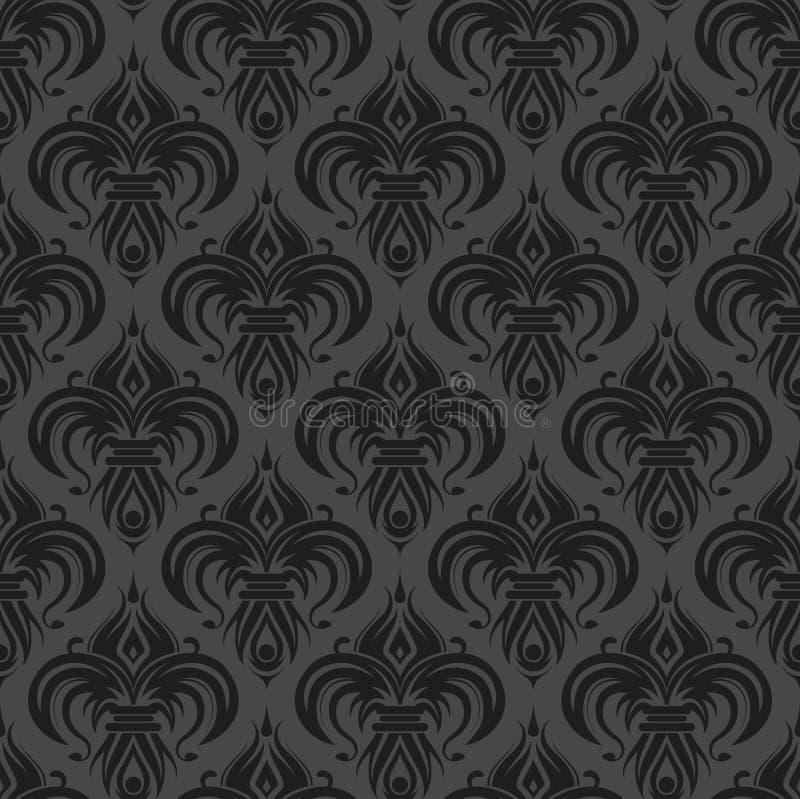 παλαιά μαύρη γκρίζα άνευ ραφής ταπετσαρία απεικόνιση αποθεμάτων
