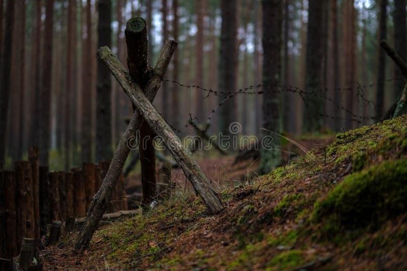 παλαιά ξύλινα trenshes στη Λετονία αναδημιουργία του πρώτου παγκόσμιου πολέμου στοκ εικόνες με δικαίωμα ελεύθερης χρήσης