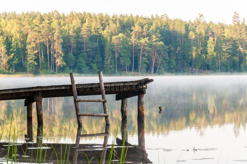 Παλαιά ξύλινη αποβάθρα με τη σκάλα στην ακόμα ομιχλώδη λίμνη με το δάσος στο υπόβαθρο στην ανατολή στοκ εικόνες με δικαίωμα ελεύθερης χρήσης