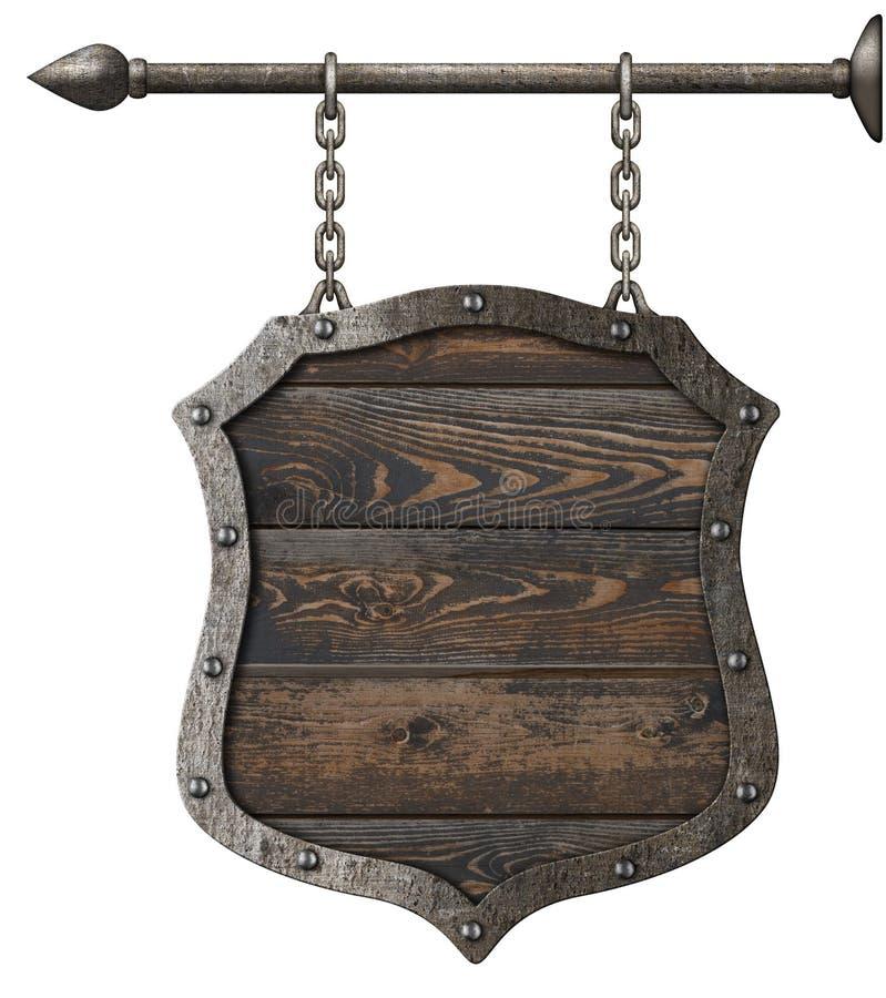 Παλαιά ξύλινη ασπίδα σημαδιών με την τρισδιάστατη απεικόνιση αλυσίδων ελεύθερη απεικόνιση δικαιώματος