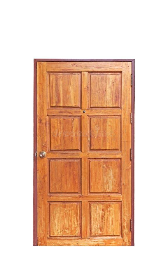 Παλαιά ξύλινη πόρτα με το ματάκι πόρτας στο άσπρο υπόβαθρο, πορεία ψαλιδίσματος στοκ εικόνες