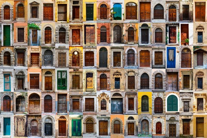 Παλαιά ξύλινη συλλογή πορτών r Κολάζ 90 πορτών και πυλών στοκ εικόνες με δικαίωμα ελεύθερης χρήσης