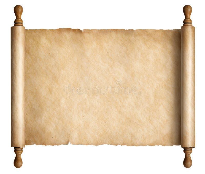 Παλαιά περγαμηνή κυλίνδρων με την ξύλινη τρισδιάστατη απεικόνιση λαβών ελεύθερη απεικόνιση δικαιώματος