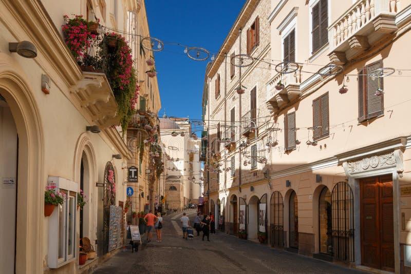 Παλαιά πόλη Alghero, Ιταλία εικονικής παράστασης πόλης στοκ φωτογραφίες με δικαίωμα ελεύθερης χρήσης