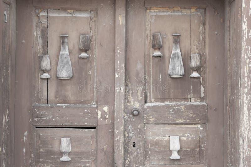 παλαιά πόρτα, κελάρια κρασιού, Villanykovesd, Ουγγαρία στοκ εικόνα με δικαίωμα ελεύθερης χρήσης