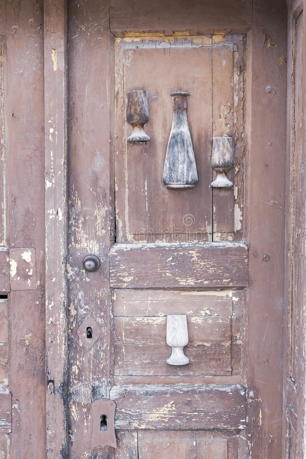 παλαιά πόρτα, κελάρια κρασιού, Villanykovesd, Ουγγαρία στοκ φωτογραφία με δικαίωμα ελεύθερης χρήσης