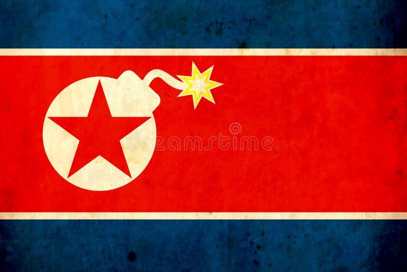 Παλαιά σημαία grunge της Βόρεια Κορέας τεθωρακισμένων Πόλεμος κίνδυνος arno βλήματα απεικόνιση αποθεμάτων