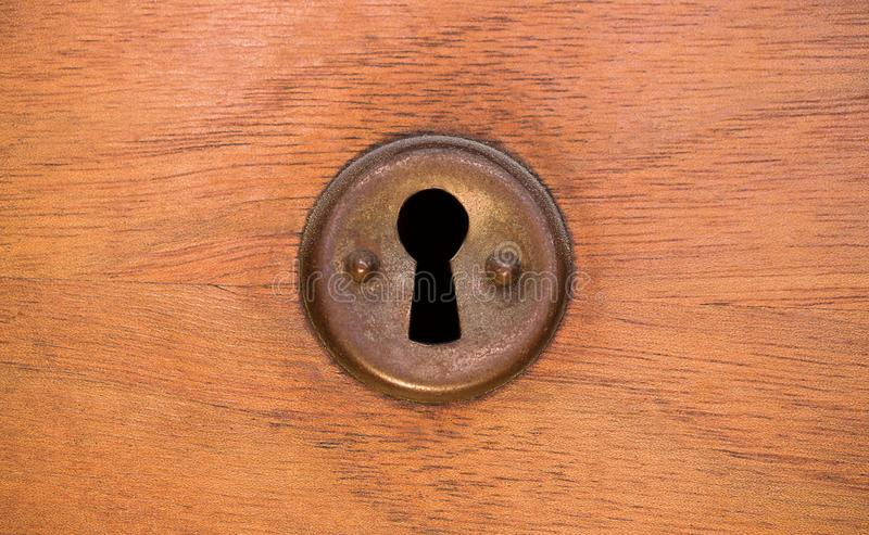 Παλαιά σκουριασμένη και σκονισμένη ταπετσαρία κλειδαροτρυπών Εκλεκτής ποιότητας κλειδαρότρυπα στο παλαιό ξύλινο υπόβαθρο πορτών κ στοκ φωτογραφία με δικαίωμα ελεύθερης χρήσης