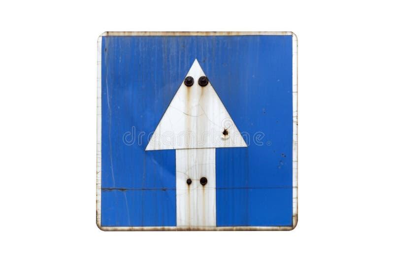 Παλαιά σκουριασμένη μπλε μονόδρομη οδός ` οδικών σημαδιών ` που απομονώνεται στο λευκό διανυσματική απεικόνιση