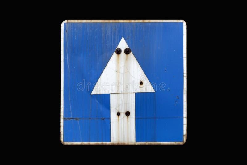 Παλαιά σκουριασμένη μπλε μονόδρομη οδός ` οδικών σημαδιών ` που απομονώνεται στο Μαύρο διανυσματική απεικόνιση