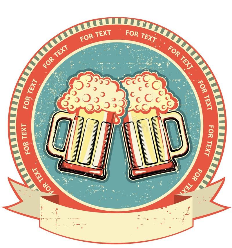 παλαιά σύσταση εγγράφου ετικετών μπύρας απεικόνιση αποθεμάτων