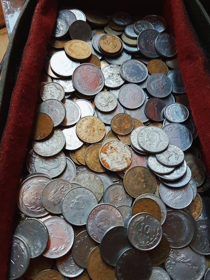 Παλαιά τουρκικά νομίσματα στοκ εικόνα