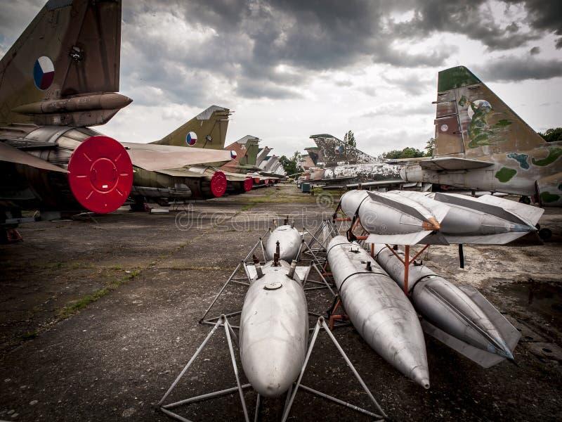 Παλαιά τσεχοσλοβάκικα αεριωθούμενα αεροπλάνα στοκ φωτογραφίες με δικαίωμα ελεύθερης χρήσης